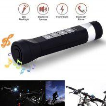 Youoklight 1PCS 1W 5V Cool White Bluetooth Multi-Function Bike Bluetooth Speaker+Mobile Power Bank+Led Flashlight+Bluetooth Call+Fm Radio+Support The Tf Card Contains 18650 Lithium Batteries