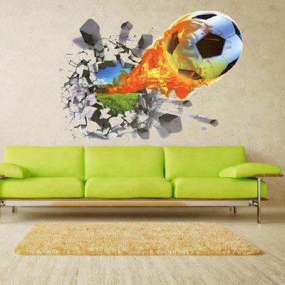 Yeduo 3D Football Soccer Fire Playground Broken Wall Hole Visualização de Janela Home Decals Sticker