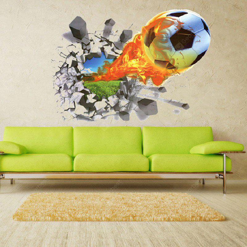 Yeduo 3D Football Soccer Fire Playground Broken Wall Hole Window View Home Decals Sticker