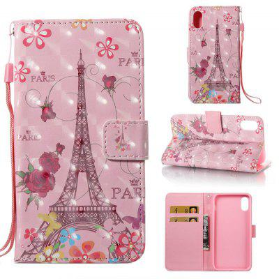 Butterfly Tower 3D Pintado Pu Phone Case foriPhone 8