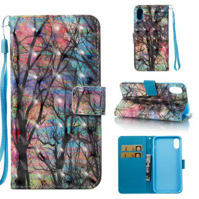 Colored Tree 3D Pintado Pu Phone Case foriPhone 8