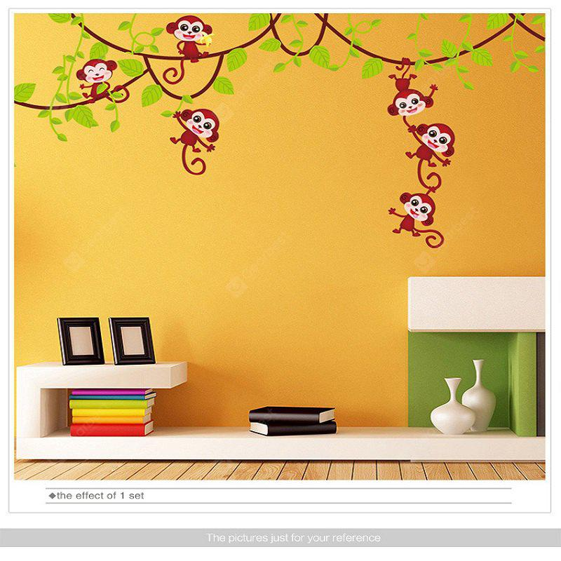 Monkey Wall Stickers Animal Escalando la decoración de la pared del arte del árbol