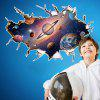 Cosmos Outer Space Wall Sticker Kindergarten Bathroom Children Room - MIXED-COLOR