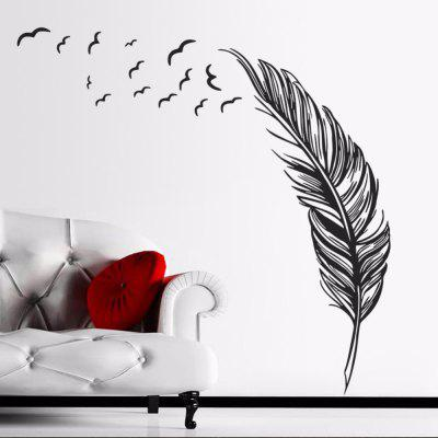 Left Flying Feather Wall Stickers Home Decor Home Wallpaper