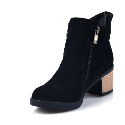 Buy BLACK Fashion Women Round Toe Chunky Heel with Zip Ankle Boots for $49.11 in GearBest store