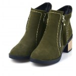 Buy Fashion Women Round Toe Chunky Heel Zip Ankle Boots 35 ARMY GREEN