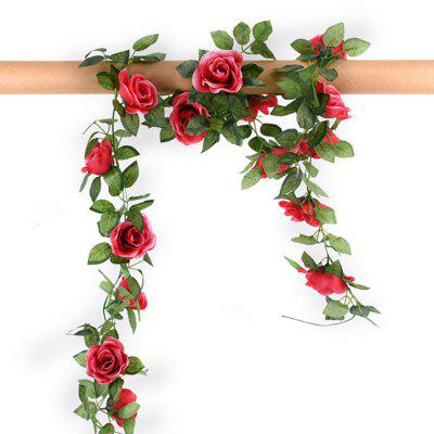 Buy ROSE RED XM1 220CM 16Heads High Simulation Rose Flower Vine Wedding Decoration Home Artificial Flower for $8.44 in GearBest store
