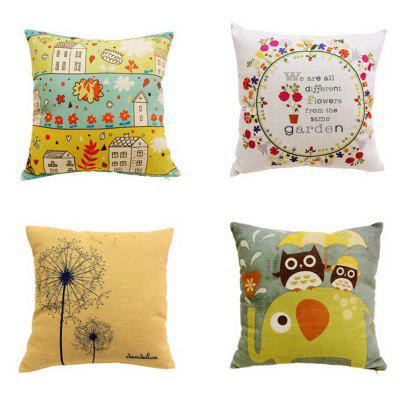 4 Pcs High Quality Eco Linen Cushion Covers Pillow Case