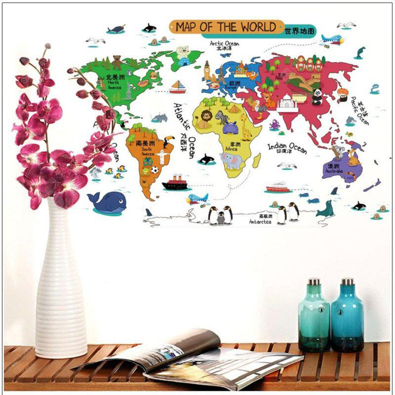 Cartoon Map of The Word Wall Stickers Removable Stickers