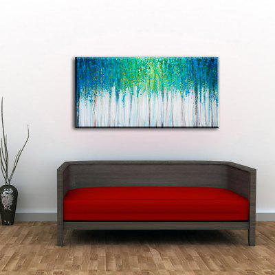 Yhhp Hand Painted Abstract Blue Forest Decoration Canvas Oil Painting