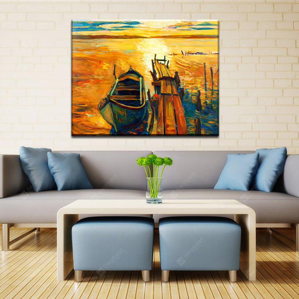 Yhhp Hand Painted Abstract Sea Port Decoration Canvas Oil Painting