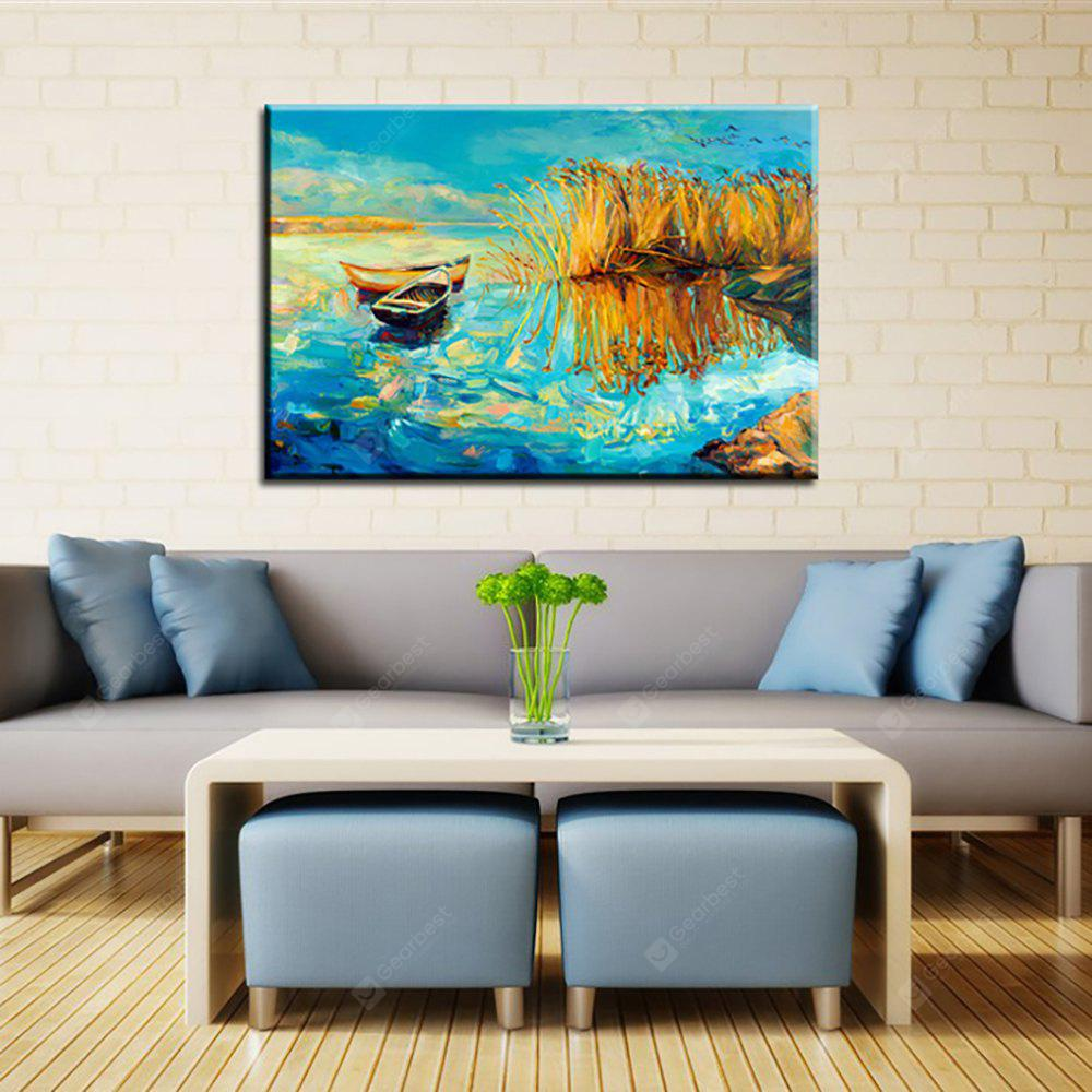 Yhhp Hand Painted Abstract boat In The Reeds Decoration Canvas Oil Painting