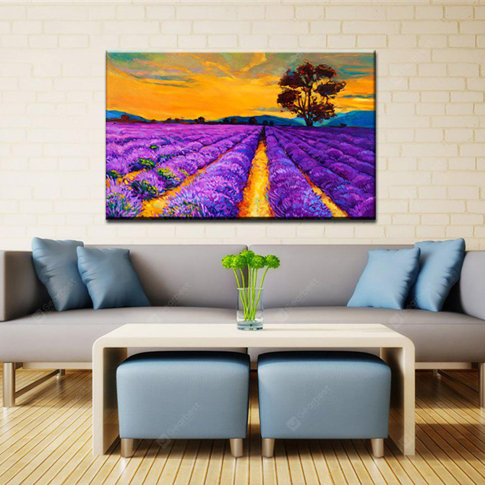 Yhhp Hand Painted Lavender Flower Sea decoration Canvas Oil Painting