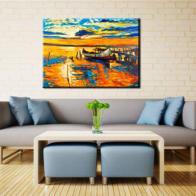 Yhhp Hand Painted Dock Boat Decoration Canvas Oil Painting