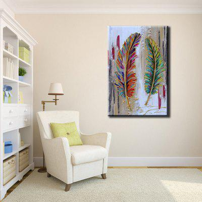 YHHP Hand Painted Abstract Feather Decoration Canvas Oil Painting 226768301