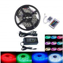 OMTO Flexible 12V Light LED Strip IP-44 Ul Listed Power Supply SMD 5050 RGB with 24 Key IR Controller Bedroom Sitting Room 5M