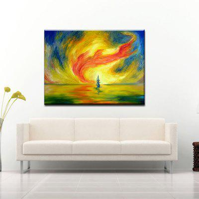 Buy RED + YELLOW + BLUE YHHP Hand Painted Oil Painting Modern Tornado Wall Art with Stretched Framed Ready To Hang for $38.79 in GearBest store