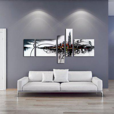 Buy BLACK AND GREY YHHP Hand Painted Oil Painting Modern Abstract 5PCS/Set Wall Art with Stretched Framed Ready To Hang for $65.00 in GearBest store