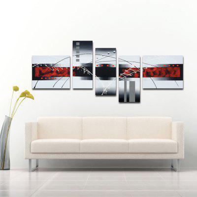 Buy BLACK AND RED YHHP Hand-Painted Abstract Modern Five panels Canvas Oil Painting for Home Decoration for $58.16 in GearBest store