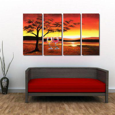 Buy ORANGE YHHP Hand Painted Oil Painting Modern Abstract 4PCS/Set Wall Art with Stretched Framed Ready To Hang for $101.44 in GearBest store