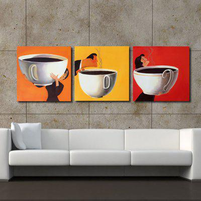 Buy COLORMIX YHHP Hand Painted Oil Painting Modern Abstract Coffee 3PCS/Set Wall Art with Stretched Framed Ready To Hang for $58.65 in GearBest store