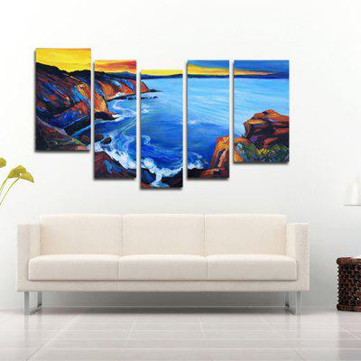Buy COLORMIX YHHP Hand Painted Oil Painting Modern Abstract Reef Seaview 5PCS/Set Wall Art with Stretched Framed Ready To Hang for $74.33 in GearBest store