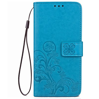Lucky Clover Holster Leaf Card Lanyard Pu Leather para Y5 / Y6 2017