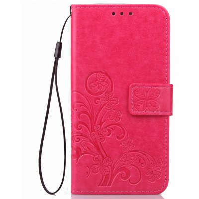 Lucky Clover Holster Leaf Card Lanyard Pu Leather Pour Huawei Y5 Ii