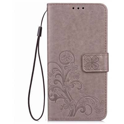 Lucky Clover Holster Leaf Card Lanyard Pu Leather for Huawei Y6 Pro