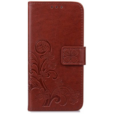 Lucky Clover Holster Leaf Card Lanyard Pu Leather para Huawei Y6 Pro