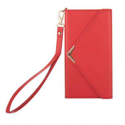 Wkae Pure Color Envelope Style PU Leather Case Cover with Card Slots Lanyard and Kickstand for iPhone X