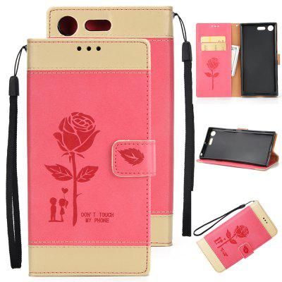 Buy Wkae Mixed Colors Rose Flower Frosted Premium Pu Leather Wallet Stand Case Cover with Card Slots for Sony Xperia Xz Premium RED + GOLDEN for $3.85 in GearBest store