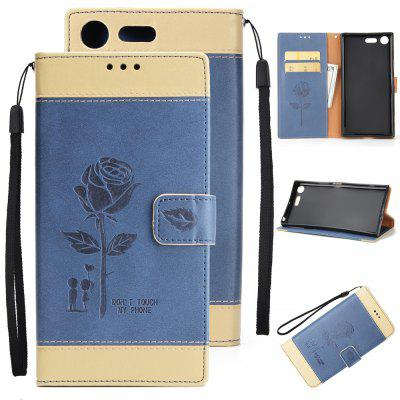 Buy Wkae Mixed Colors Rose Flower Frosted Premium Pu Leather Wallet Stand Case Cover with Card Slots for Sony Xperia Xz Premium BLUE AND GOLDEN for $3.85 in GearBest store