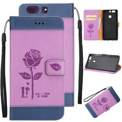 Buy Wkae Mixed Colors Rose Flower Frosted Premium Pu Leather Wallet Stand Case Cover with Card Slots for Huawei P9 BLUE + PURPLE for $3.85 in GearBest store