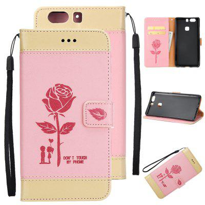 Wkae Mixed Colors Rose Flower Frosted Premium PU Leather Wallet Stand case Cover with Card Slots for Huawei P9 Plus