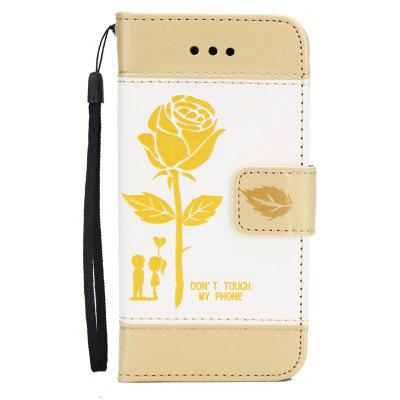 Wkae Mixed Colors Rose Flower Frosted Premium Pu Leather Wallet Stand Case Cover with Card Slots for iPhone 5