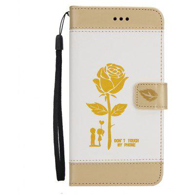 Wkae Mixed Colors Rose Flower Frosted Premium Pu Leather Wallet Stand Case Cover with Card Slots for iPhone 7 Plus