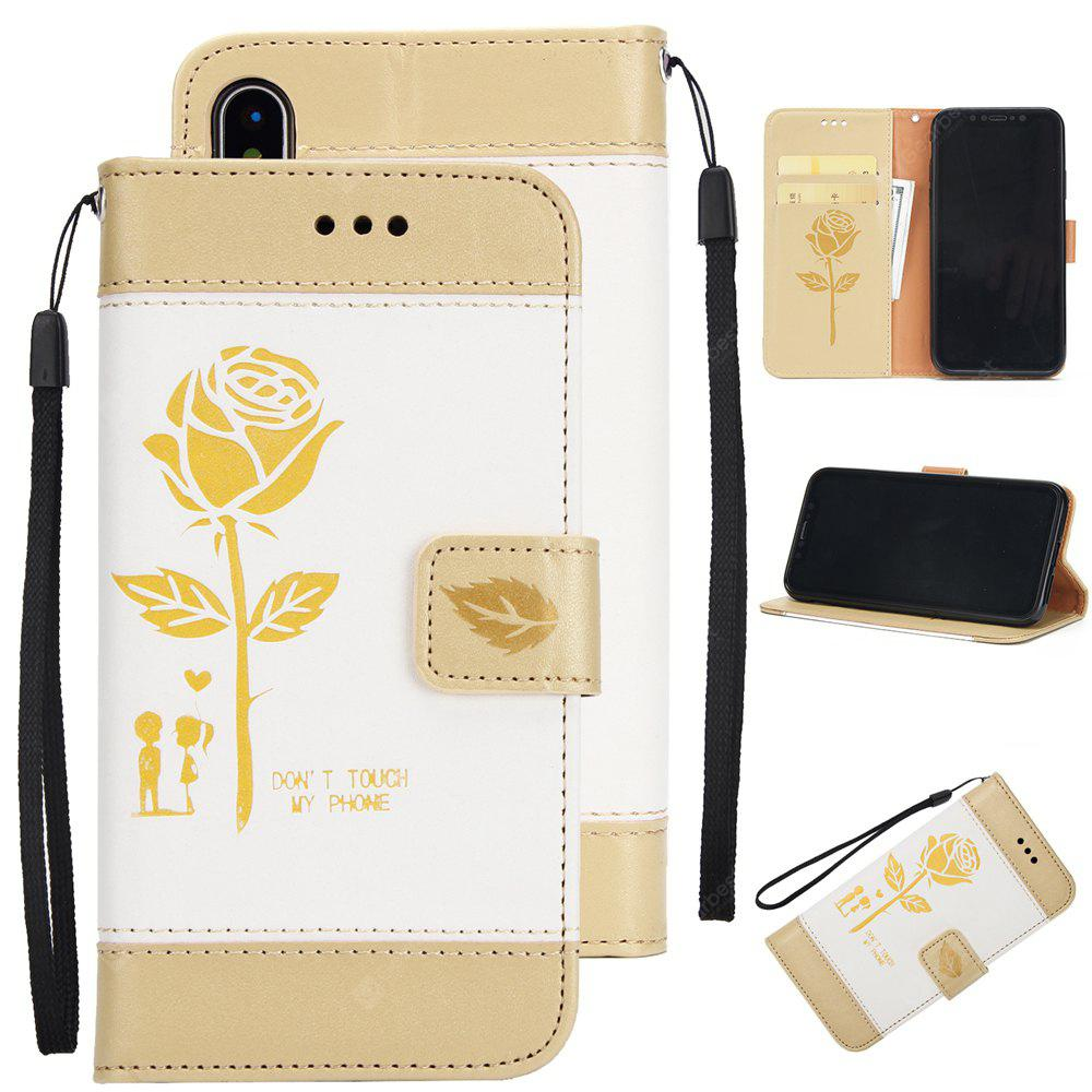 Wkae Mixed Colors Rose Flower Frosted Premium PU Leather Wallet Stand Case Cover with Card Slots for iPhone X