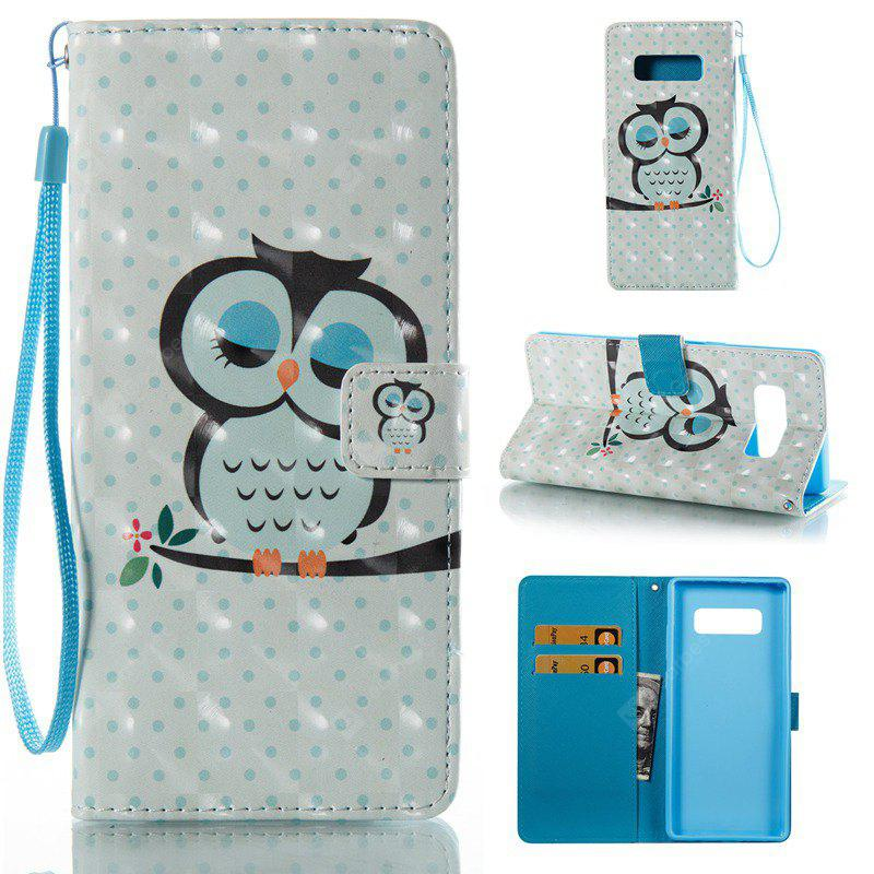 Sleep Owl 3D Painted Pu Phone Case for Samsung Galaxy Note 8