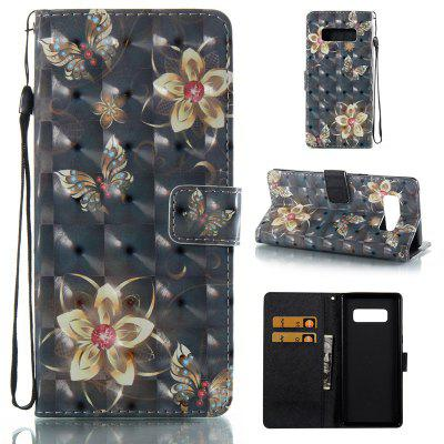 Golden Butterfly 3D Painted Pu Phone Case for Samsung Galaxy Note 8