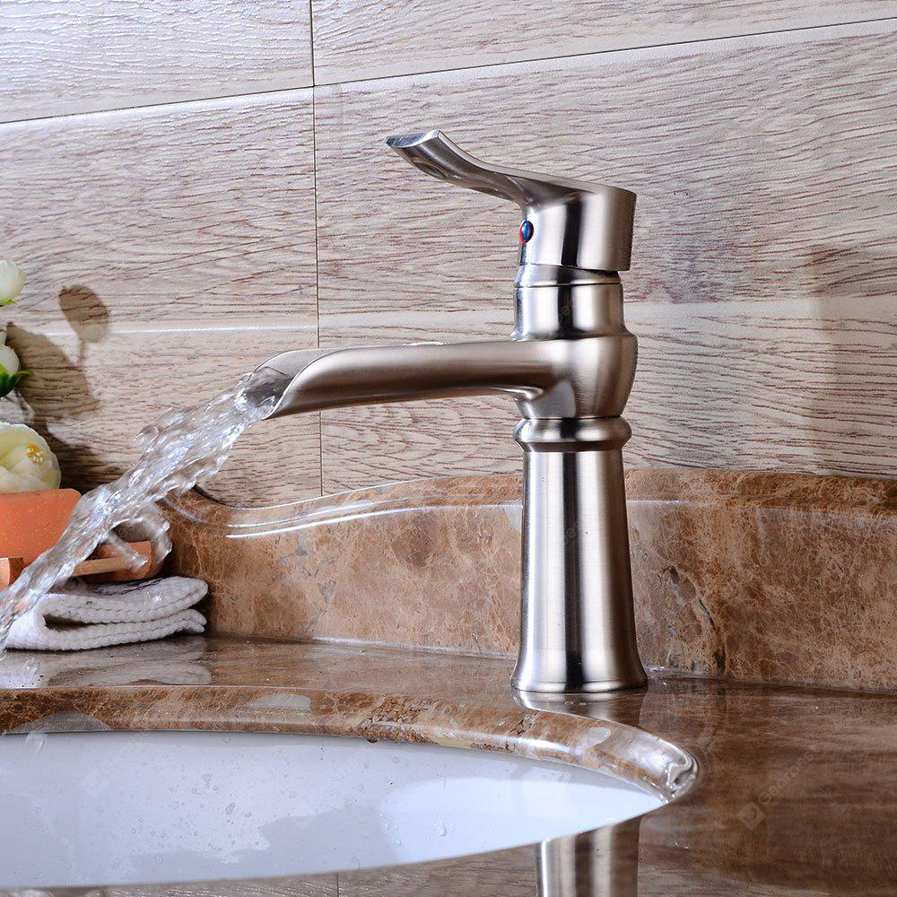 BRUSHED SILVER Brushed Nickel Bathroom Faucet Waterfall Basin Mixer Tap