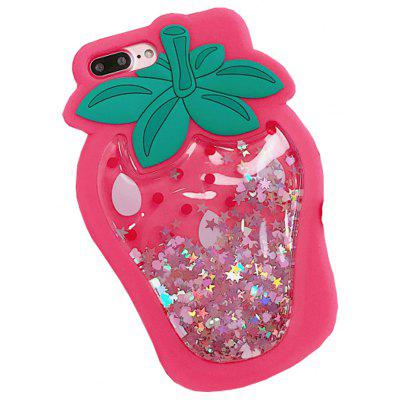 Buy ROSE RED Glitter Bling Strawberry Dynamic Quicksand Cases for Iphone 7 Plus for $5.24 in GearBest store