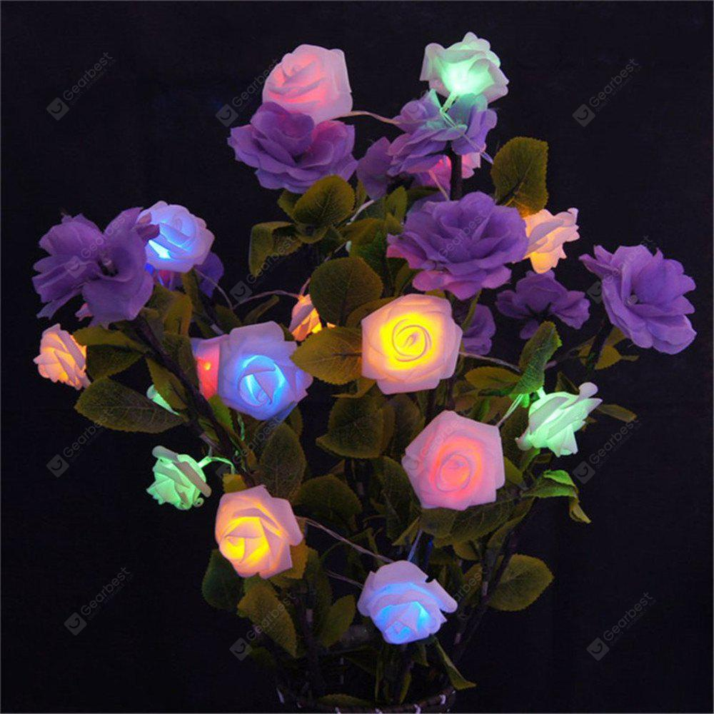 supli 5m 20 led battery operated string flower rose fairy light christmas decor - Battery Powered Christmas Decorations