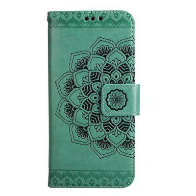 Wkae Embossed Flower Flip Stand Wallet Case with Lanyard And Card Slots for Iphone 5S Se