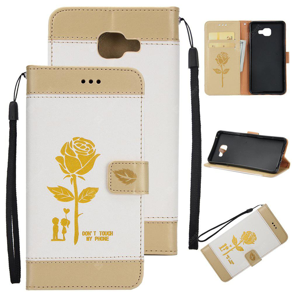 Wkae Mixed Colors Rose Flower Frosted Premium Leather Wallet Stand Case Cover with Lanyard Card Slots Samsung Galaxy A520