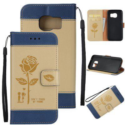 Buy Wkae Mixed Colors Rose Flower Frosted Premium Leather Wallet Stand Case Cover with Lanyard Card Slots Samsung Galaxy S6, BLUE AND GOLDEN, Mobile Phones, Cell Phone Accessories, Samsung Accessories, Samsung S Series for $3.85 in GearBest store