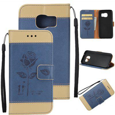 Buy Wkae Mixed Colors Rose Flower Frosted Premium Leather Wallet Stand Case Cover with Lanyard Card Slots Samsung Galaxy S6, GOLDEN+ICE BLUE, Mobile Phones, Cell Phone Accessories, Samsung Accessories, Samsung S Series for $3.85 in GearBest store