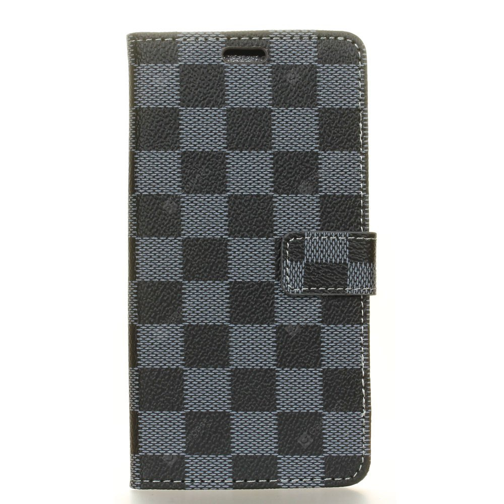 Grid Pattern Flip Front Buckle Pu Leather Wallet Case for Nokia Lumia 8