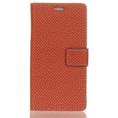 Woven Pattern Flip Front Buckle Pu Leather Wallet Case for LG Q6