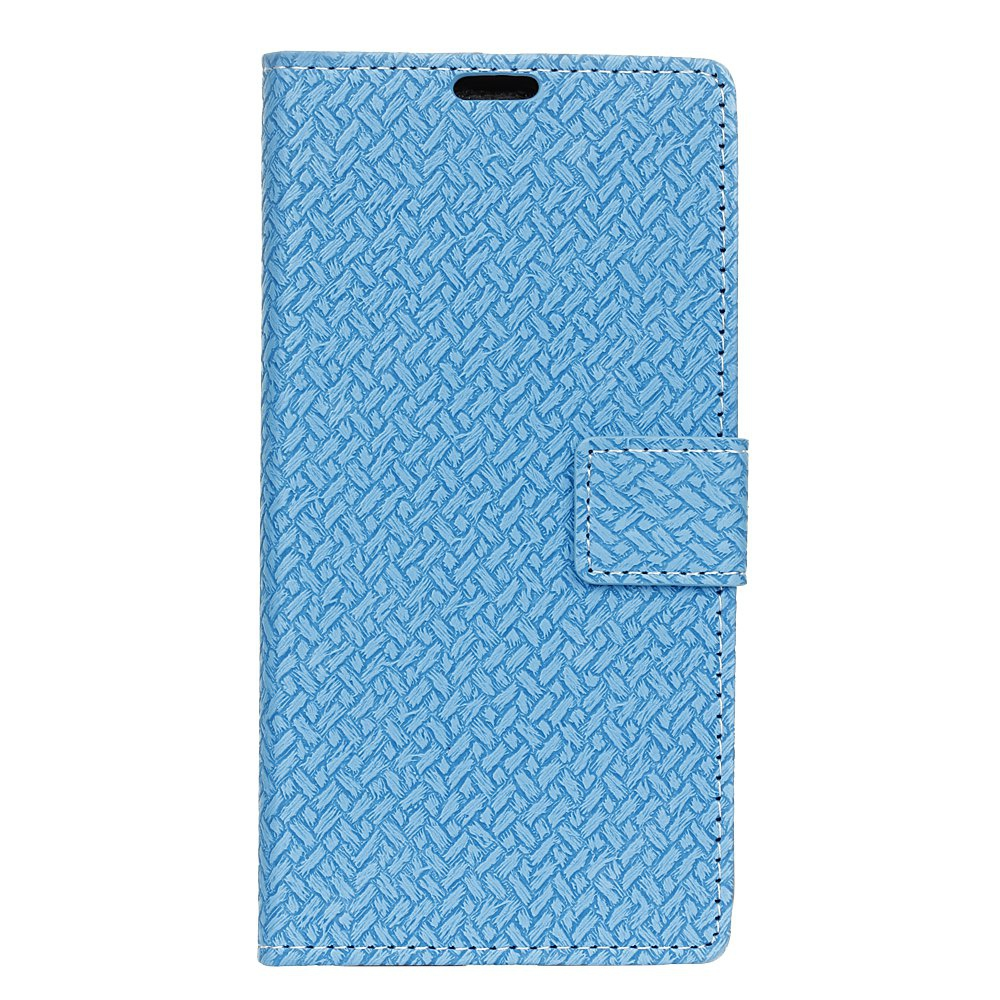 BLUE Woven Pattern Flip Front Buckle Pu Leather Wallet Case for Wiko Tommy 2